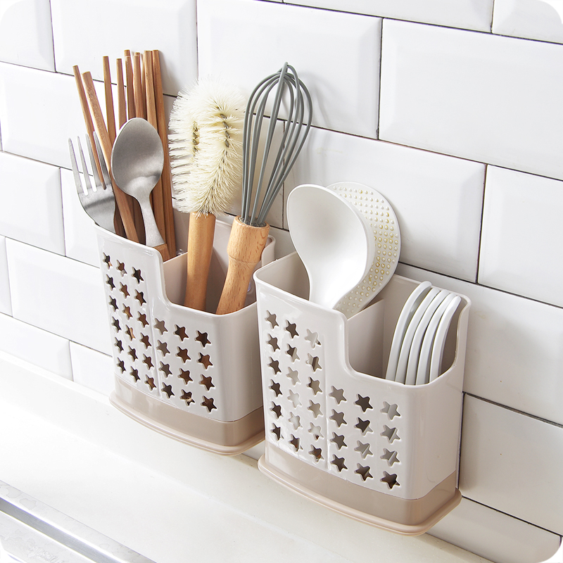 Kitchen Accessories Cutlery Organizer Wall-mounted Dish Drainer Household Chopsticks Spoon Drying Rack