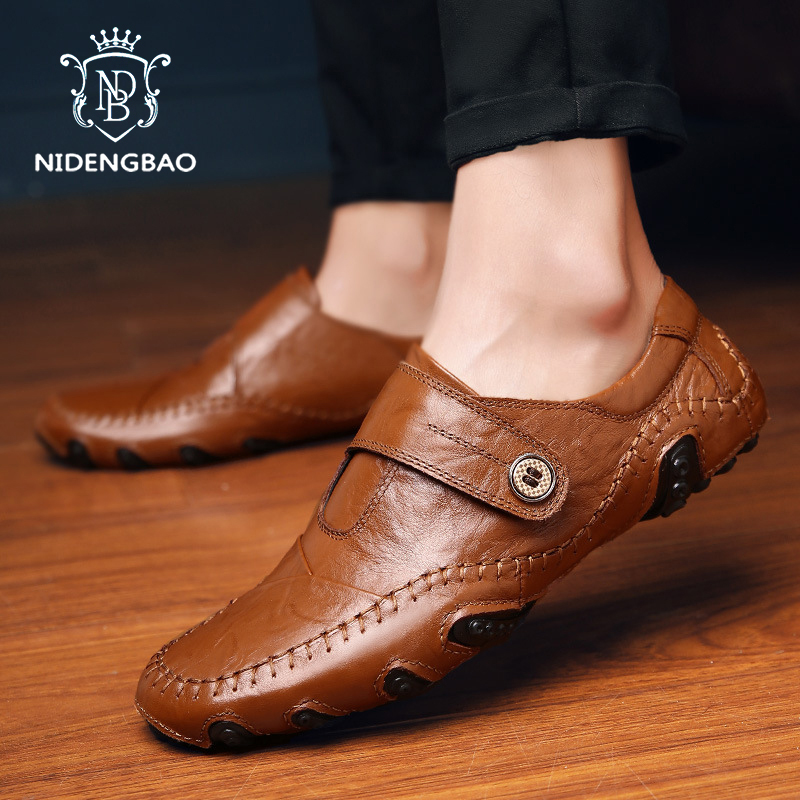 Men Shoes Luxury Brand Leather Casual Driving Oxfords Shoes Men Loafers Black Brown Flat Shoes For Men Flats Drop Shipping