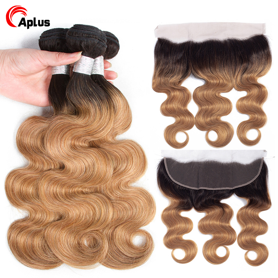 Aplus Remy Hair Ombre Bundles With Frontal Brazilian Body Wave T1b 27 Blonde Bundles With Frontal Blonde Human Hair With Closure