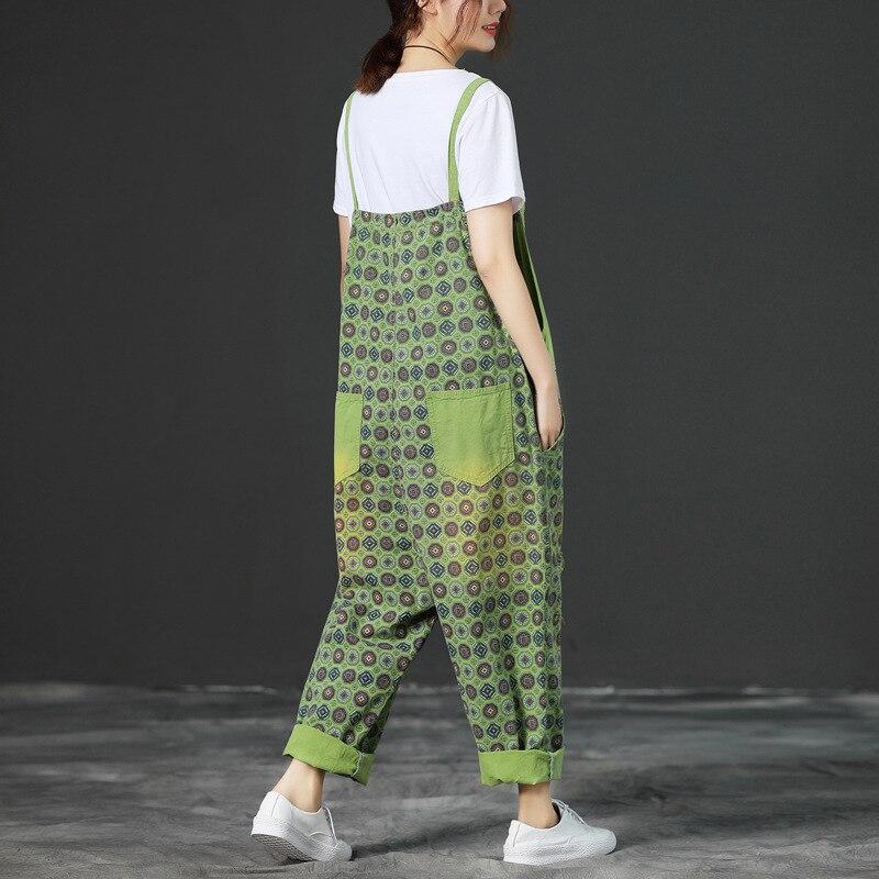 9a1b401bdf6 Women Plus size Print Denim Jumpsuits Baggy Bib Overalls Wide Leg  Suspenders Drop Crotch Pants Boyfriend Jeans Rompers YT7241-in Jumpsuits  from Women s ...