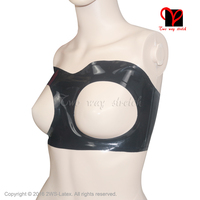 Sexy Black Latex Tube Top Bra Rubber Bust Lingerie Gummi Bikini Open Breasts Underclothes Crop Top