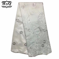 H&Q African George Lace Fabric,High Quality Pure White George Silks Lace Embroidered And Sequins For Wedding Dress/Garment 2018