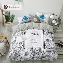 Liv-Esthete Fashion Flower Garden 100% Cotton Bedding Set Decor Duvet Cover Pillowcase Flat Sheet Fitted Double Queen King