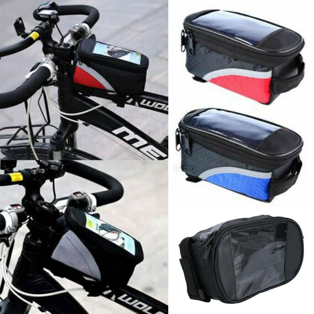 Waterproof Mountain Bike Frame Front Bag Pannier Bicycle Mobile Phone Holder New