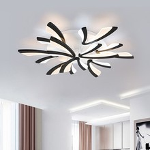 Luces de techo LED modernas para sala de estar, dormitorio, decoración del hogar, lámparas de cocina, iluminación negra con brillo de Control remoto