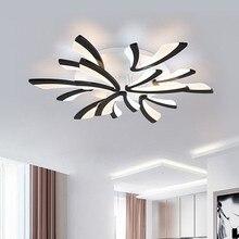 Nowoczesne lampy sufitowe LED do salonu sypialnia lampa dekoracyjna do domu wyposażenie kuchni czarna błyskawica z pilotem Lustre