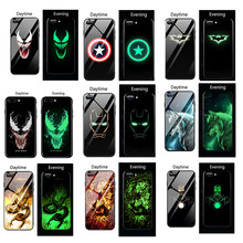 Marvel Venom Luminous Glass Case For Huawei P30 P20 pro Mate 20 Lite Iron man Avengers Cover For Honor 20 pro 8X 10 9 Lite case(China)