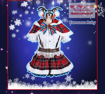 Anime!Lovelive Sunshine Aqours Kurosawa Ruby Christmas Albums Lolita Lovely Uniform Suit Cosplay Costume For Women Free Shipping