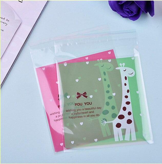 Weihnachtsgeschenke Lebensmittel.Us 9 49 200 Stücke Lebensmittel Verpackungen Beutel Cookie Giraffe Druck Selbstklebende Kunststoff Süßigkeiten Kuchen Cookies Taschen