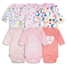 6pcs/lot newborn baby girl bodysuits Cotton Infant Body Long Sleeve Clothing Similar Jumpsuit Cartoon Printed Baby clothes