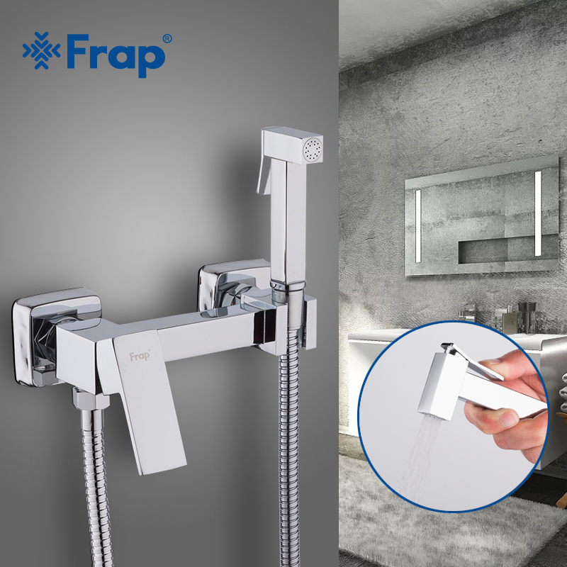 Frap Bidets New Arrival Brass Chrome Bidet Toilet Faucet Shower Portable Sprayer Set Hot and Cold Water tap hygienic showerF7504