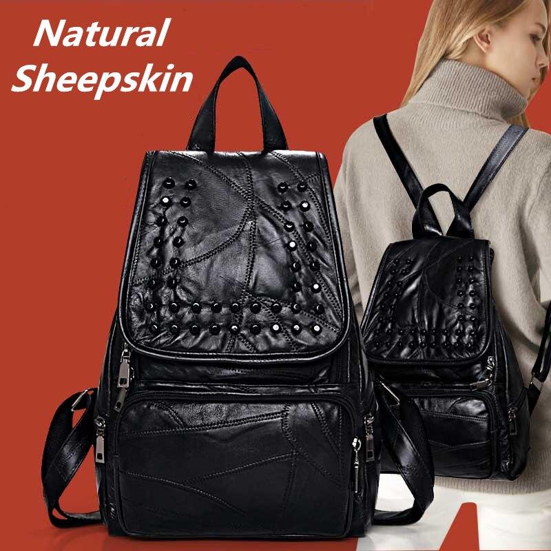 Korean Fashion style Genuine leather bag Patchwork Natural Sheepskin women backpacks University students School bag travel
