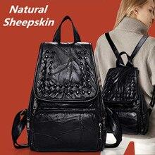 Koreanische mode-stil Aus Echtem leder tasche Patchwork Natürlichen Schaffell frauen rucksäcke studenten schultasche reisetaschen