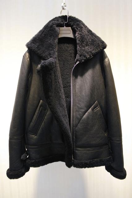 men's fashion winter sheep fur sheepskin leather surface shearling wool lining  biker jacket coat