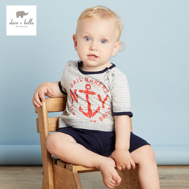 DB3084 dave bella bebê verão menino âncora overallsr legal estilo marinheiro listrado infantis roupas baby one-piece bebê meninos babysuits