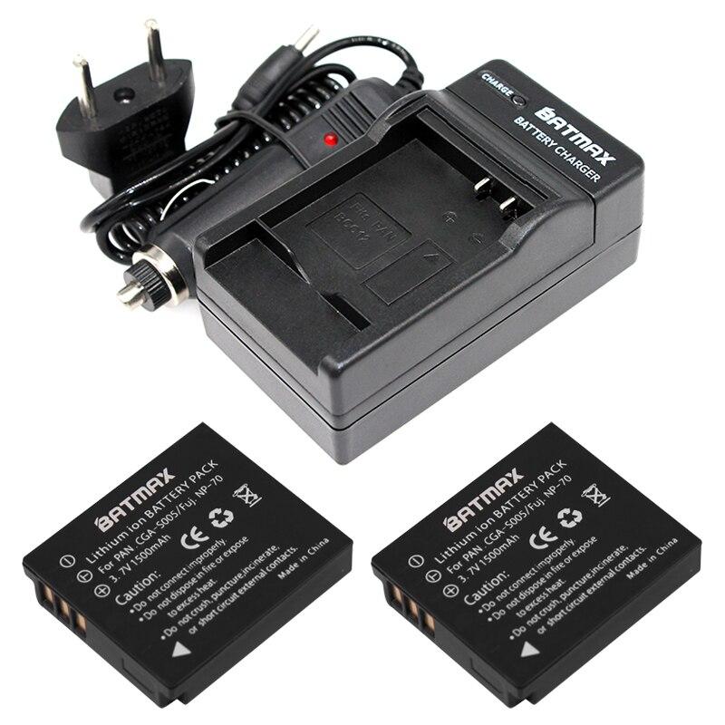CGA-S005E S005 Batterie Rechargeable (2 Pack) + Kit Chargeur pour Panasonic Lumix DMC-LX1 LX2 LX3 FX3 DMW-BCC12 Pour FUJI NP-70 DB60