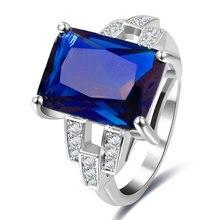 Fashion Blue Zircon Rings Show Elegant Temperament Jewelry Womens Girls White Silver Filled Wedding Ring Dropshipping