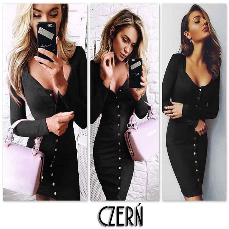 2018 Fation Bodycon נדן שמלה ארוך שרוול המפלגה שמלות נשים בגדי חזרה מלא כפתור חלוק סקסי Femme עיפרון הדוק שמלה
