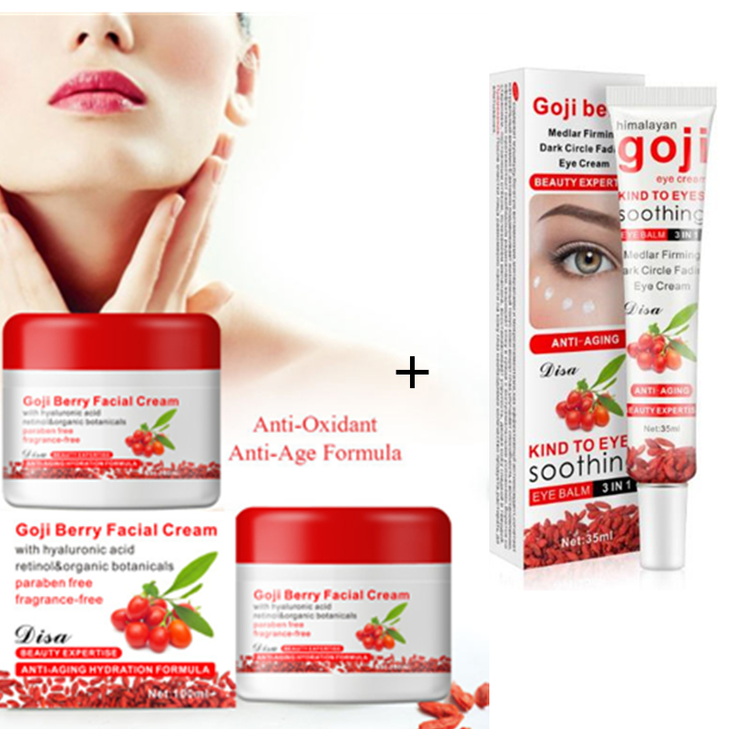 Brand Original GOJI cream 100g facial anti aging anti wrinkle creams with GOJI eye revitalizing whitening cream Skin care Set цена