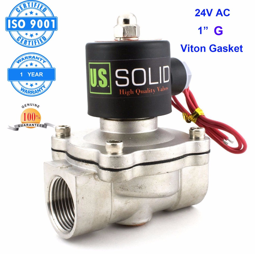 U.S. Solid 1 inch Stainless Steel Electric Solenoid Valve 24V AC G Thread Normally Closed water, air, diesel.. ISO Certified u s solid 3 4 stainless steel electric solenoid valve 110 v ac g normally closed diesel kerosine alcohol air gas oil water
