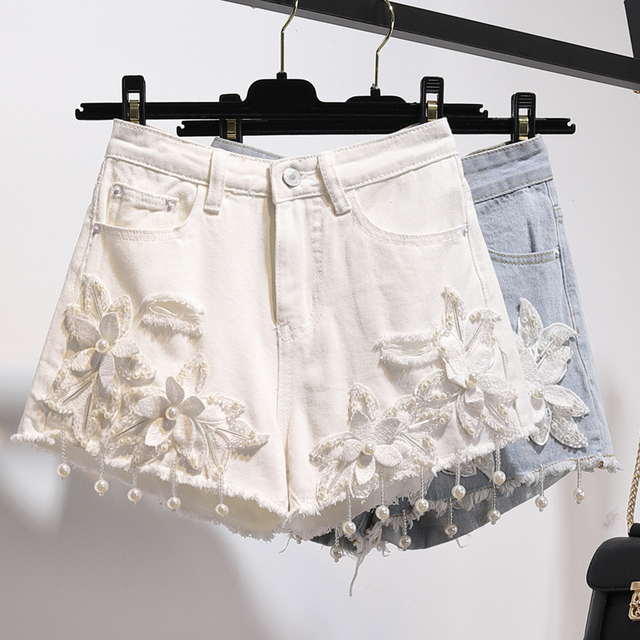 Pus Size 5XL 2018 Summer Women 3D Flower Pearl Tassels Denim Shorts Sexy Hole White Jeans Shorts