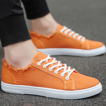 Men's Canvas Shoes Vulcanize Men Sneakers 2019 Fashion Sneakers Man Casual Sport Shoes green/black/white/orange sneakers shoes