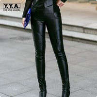 2018 New Arrival Sheepskin Genuine Leather Slim Fit Long Pants Women Pockets Trousers For Female Calca Feminina Plus Size Black