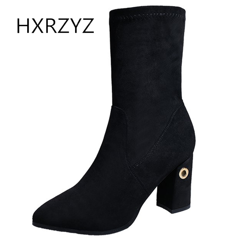 HXRZYZ black flock ankle boots women winter boots spring and autumn new fashion thick high heels pointed toe elastic shoes women wholesale lttl new spring summer high heels shoes stiletto heel flock pointed toe sandals fashion ankle straps women party shoes