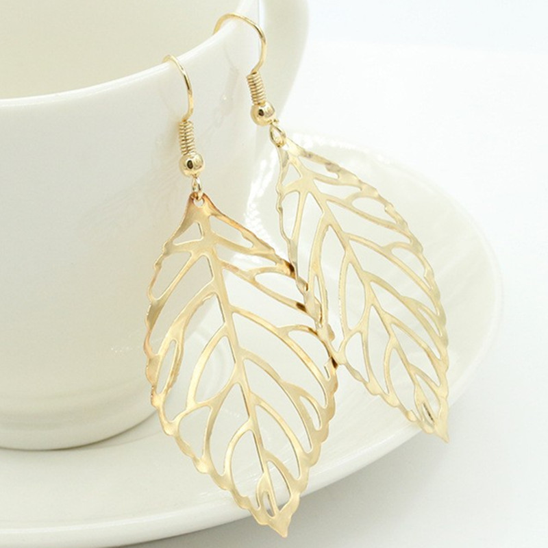 Brincos Dangle Vintage Bohemia Long Big Hollow Leaf Drop Earrings For Women Wedding Jewelry Gift Accessories Pendientes