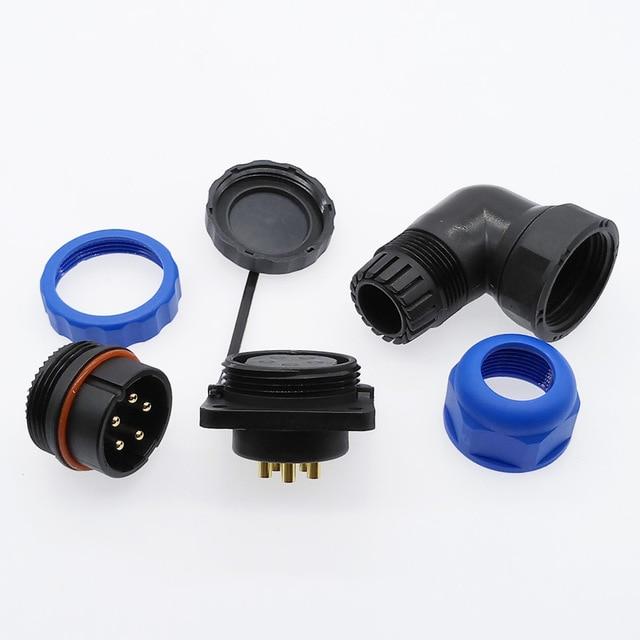 Conector SP28 resistente al agua, 2 pines, 3/4/5/6/7/9/10/12/14/16/19/22/24/26 Pines, Conector de ángulo de brida IP68, codo de 90 grados