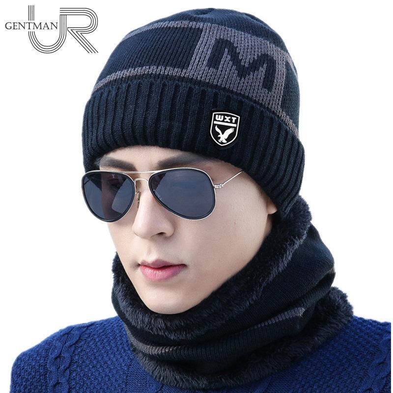 2 Piece Winter Hat Men Scarf Knitted Hat Casual M Letter Warm Baggy Winter Hats For Men Women   Skullies     Beanie   Hat Bonnet Caps