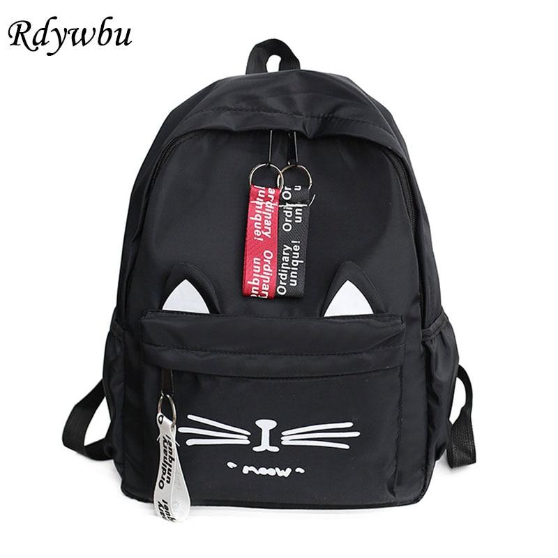 Rdywbu Cute Cartoon Cat Printing Backpack New Letters Nylon Travel Knapsack Girls Animal Shape School Bag Rucksack Mochilas B324