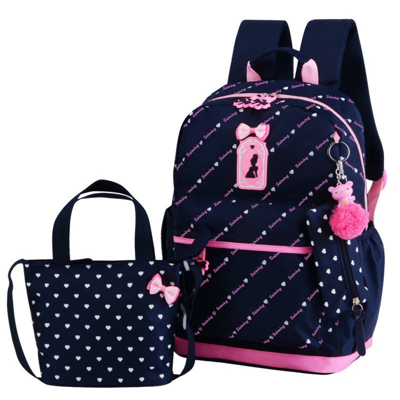 Cute Bow 3pcs/set Children School Bags for Girls School Backpack Satchel kids book bag shoulder schoolbag Mochila Escolar forudesigns cute cartoon winx club girls school bags small children book bag for kindergarten women shoulder bag kids mochila