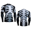 2016 New 3D Bones Rash Guard Technical Compression Shirt Complete Graphic Tight Tops Bodybuilding Muscle Man Shirts Gear Man 4XL