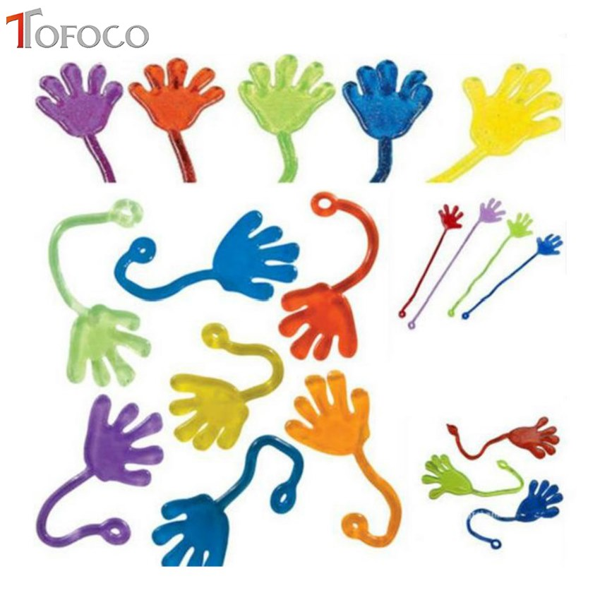 TOFOCO 10Pcs Kids Party Supply Favour Mini Sticky Jelly Stick Slap Squishy Hands Puzzle Funny Jokes Toy