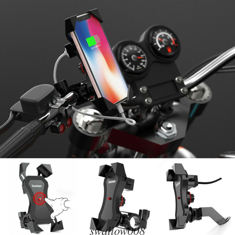 Universal 360° Bicycle Motorcycle Bike Phone Mount Holder X Grip Clamp With USB Charger For Cell Phone
