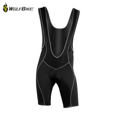 Special Offer WOLFBIKE Men's Cycling Bib short Pants Bicycle Suspenders Cycle Wear Clothing 3D Coolmax Pad Braces Tights M 3XL(China)