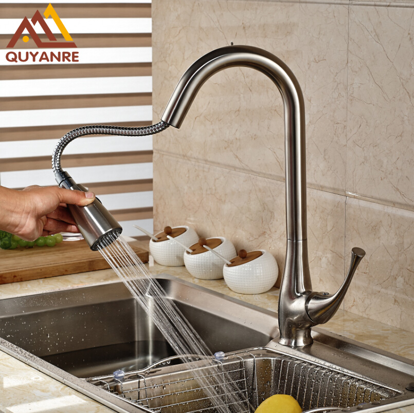 Pull Out Two Function Sprayer Head Kitchen Faucet Brushed Nickle Sink Faucet