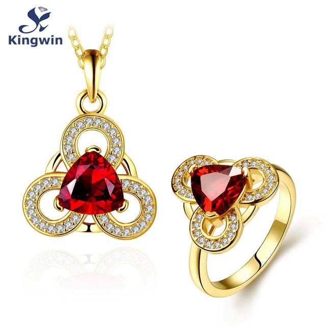 Oro de Rose plateado rubí sintético diamante cz sistemas de la joyería para las mujeres, colgante de collar y anillo de piedra de color opcional