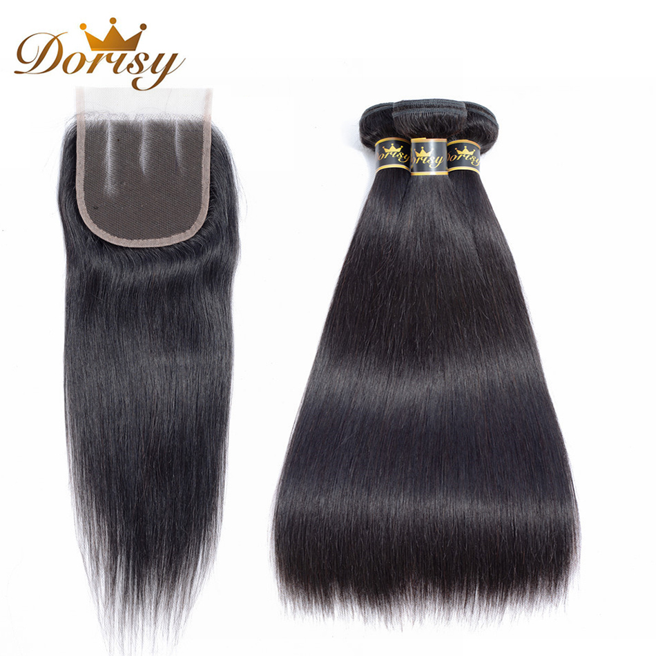 Dorisy Hair 4 Pcs Natural Color Mongolian Straight 3 Bundles With 4*4 Closure Swiss Lace Non Remy 100% Human Hair Weaving