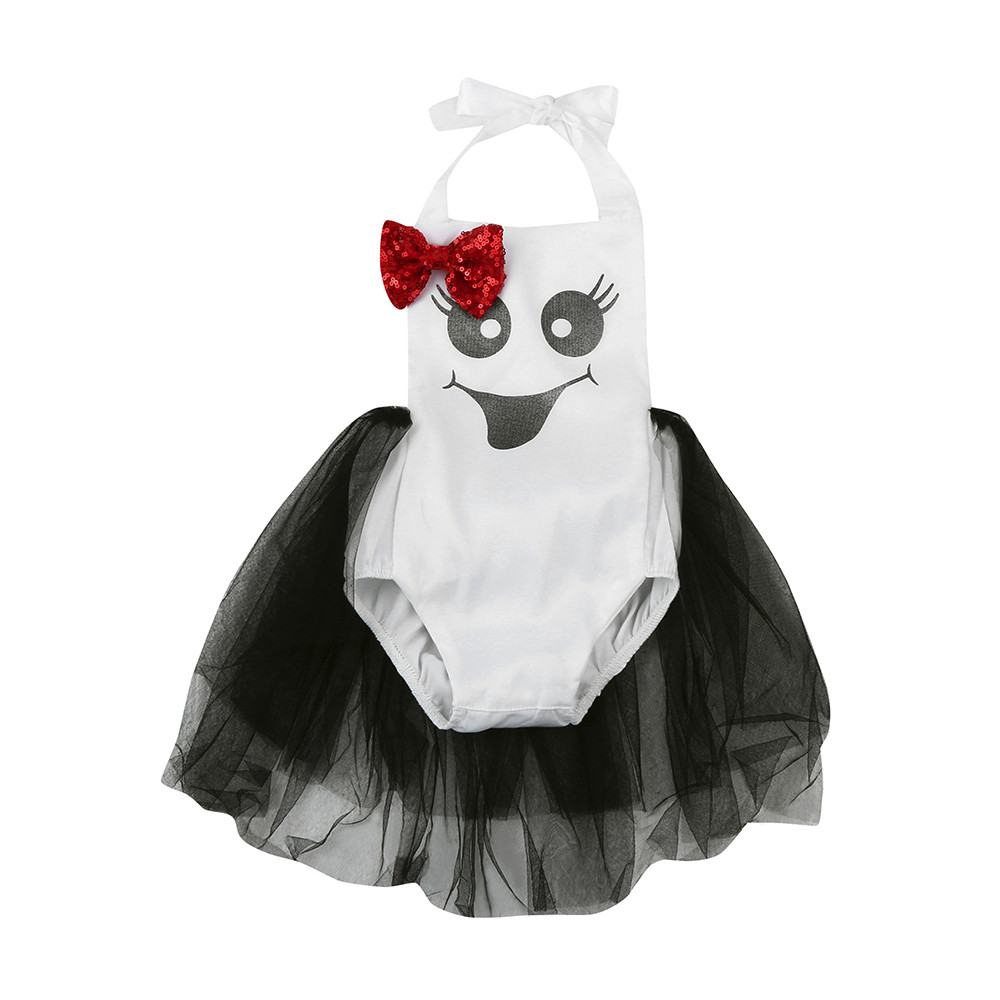 baby girl clothes Dress Newborn Infant Baby Girls Sequin Bow Print Romper Halloween Clothes roupa infantil