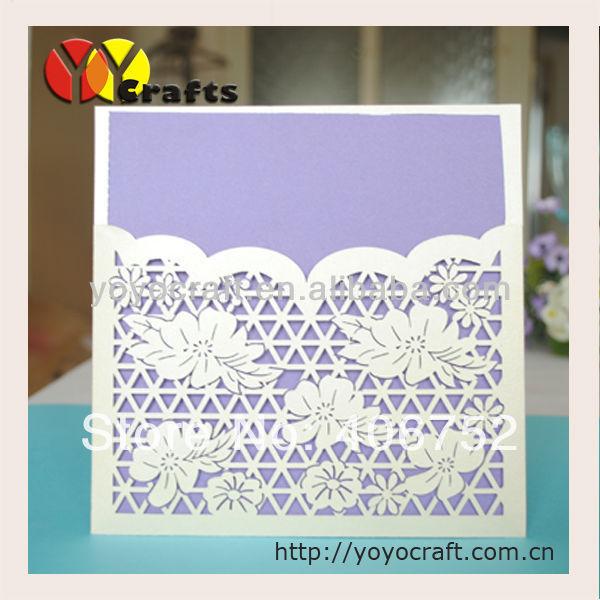 beautiful flower laser cut simple unique wedding invitation cards
