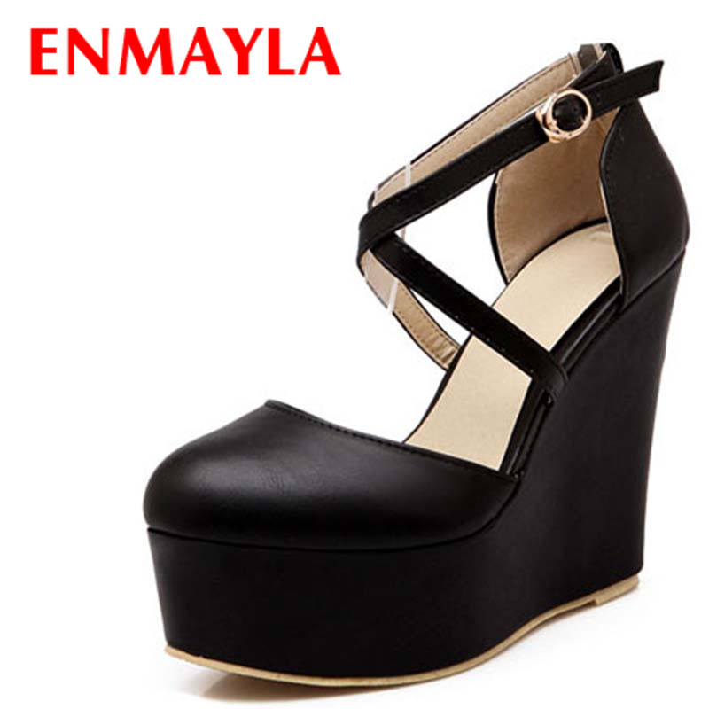 ENMAYLA round closed toe comfort Wedges Platform pumps fashion sexy Cross straps party night shoes pumps Buckle women pumps in Women 39 s Pumps from Shoes