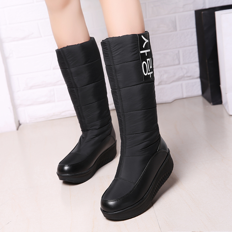 Ladies snow boots wedges heels slip on women winter boots fur inside mid calf boots sweet shoes hot genuine leather women artificial rabbit fur snow boots high platform ladies wedges heels mid calf boots suede rivets shoes