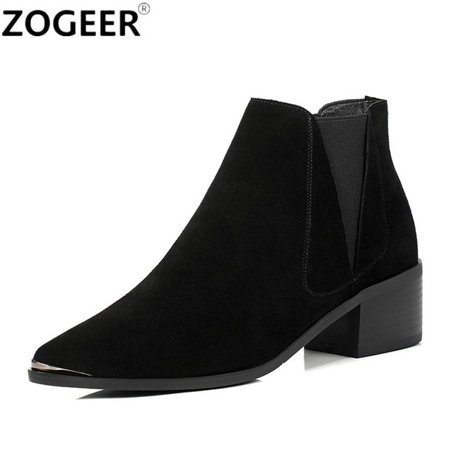 fbd1896ce0a11 Top Quality Suede Winter Autumn Women Boots Classical Black Grey Ankle boots  Casual Square Low Heel Shoes Woman