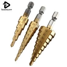 Doersupp 3pcs HSS Titanium Coated Step Drill Bit for Metal 3-12mm 4-12mm 4-20mm High Speed Steel Wood Drilling Power Tools