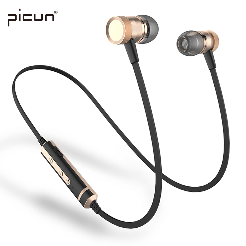 Picun H6 Wireless Headphones Bluetooth Headset Sport Headphone Ear Hook Stereo Music Dynamic Handsfree Earbuds With Microphone new kz zs3 in ear headphones stereo headset ear hook running sport earphone noise cancelling earbuds headphones with microphone