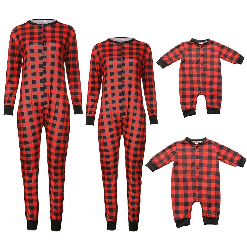 Christmas Fashionable T-Shirt Plaid Button Jumpsuit Family Matching Pajama Family Holiday Siamese Set Christmas Home Suit