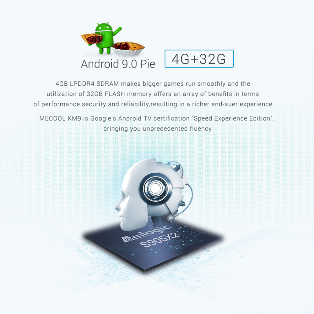 2019 plus récent KM9 ATV contrôle vocal intelligent 4G 32G Android 9.0 Amlogic S905X2 boîte de soutien intelligent respiration lumière/3D boîte graphique - 3