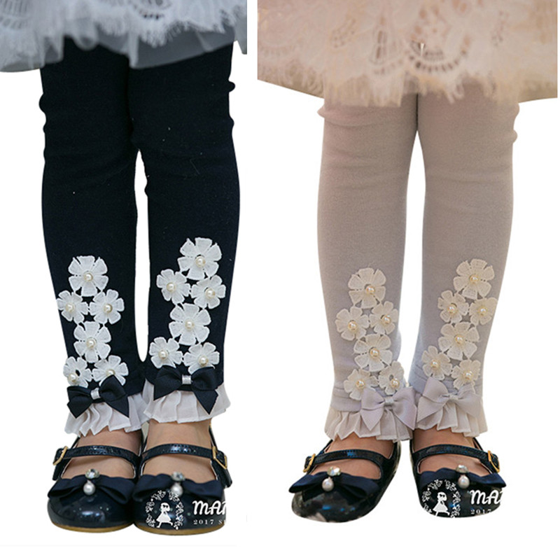 kids girls cute flowers lace ruffle cotton skinny casual autumn spring leggings children fashion princess legging pants clothes 2016 spring new fashion korean lace children clothing for cute kids girls ballet girl ruffle bottoming princess shirt